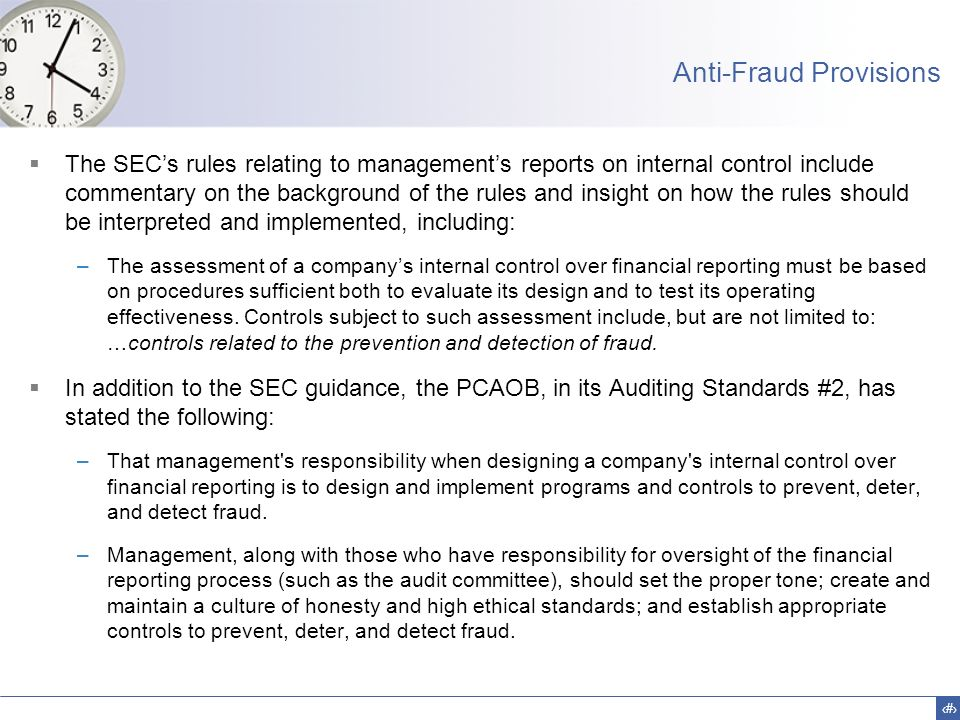 Anti-Fraud Provisions