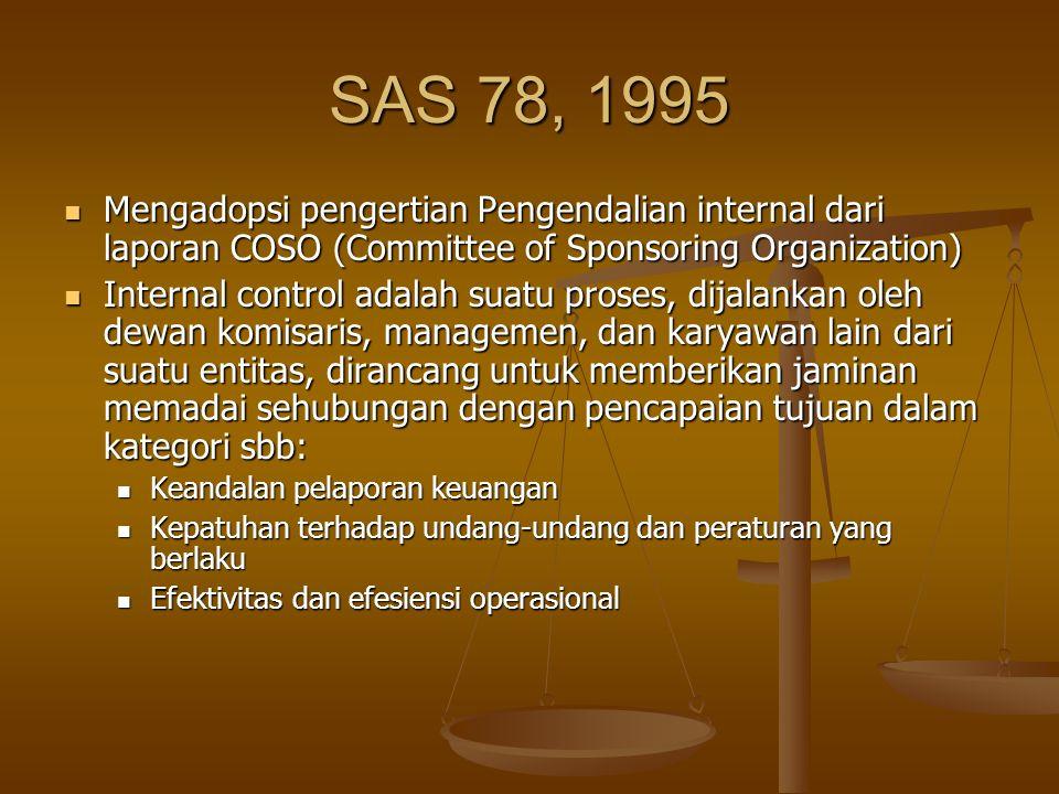 SAS 78, 1995 Mengadopsi pengertian Pengendalian internal dari laporan COSO (Committee of Sponsoring Organization)