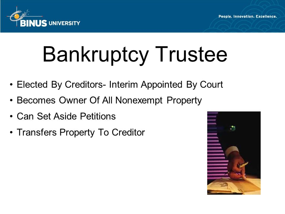 Bankruptcy Trustee Elected By Creditors- Interim Appointed By Court