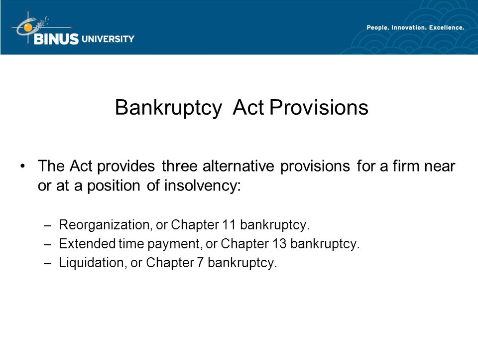 Bankruptcy Act Provisions
