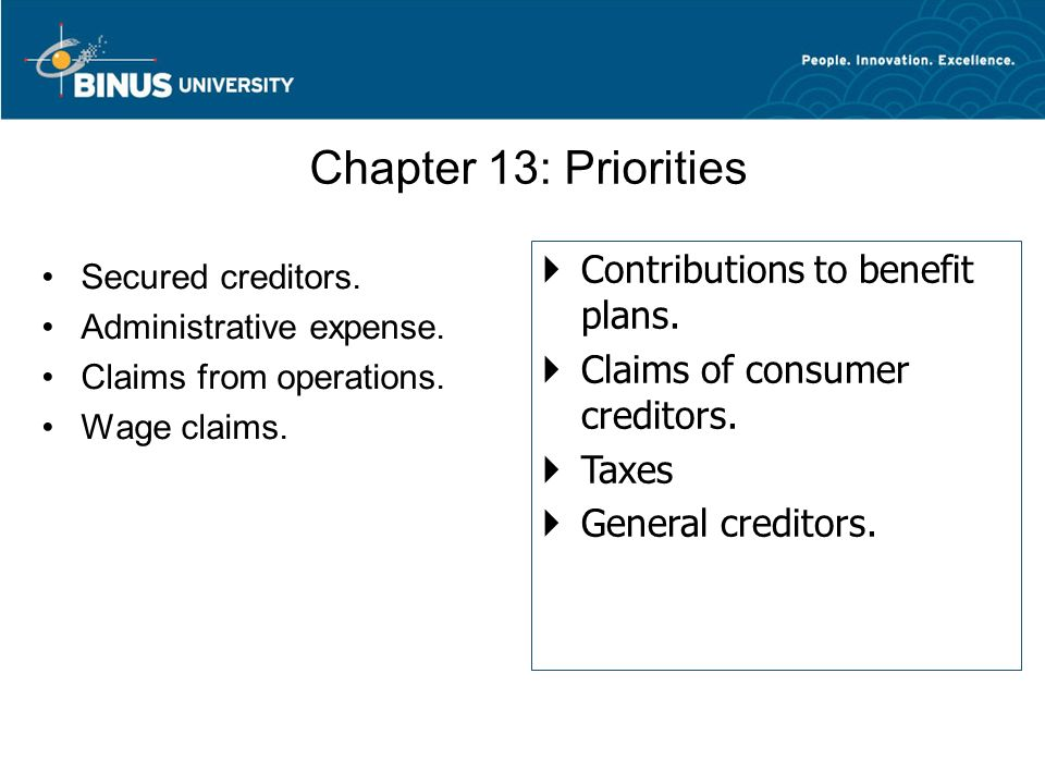 Chapter 13: Priorities Contributions to benefit plans.