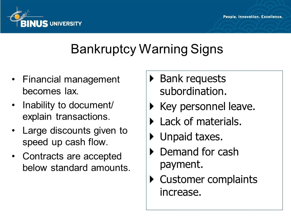 Bankruptcy Warning Signs