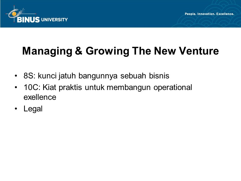 Managing & Growing The New Venture