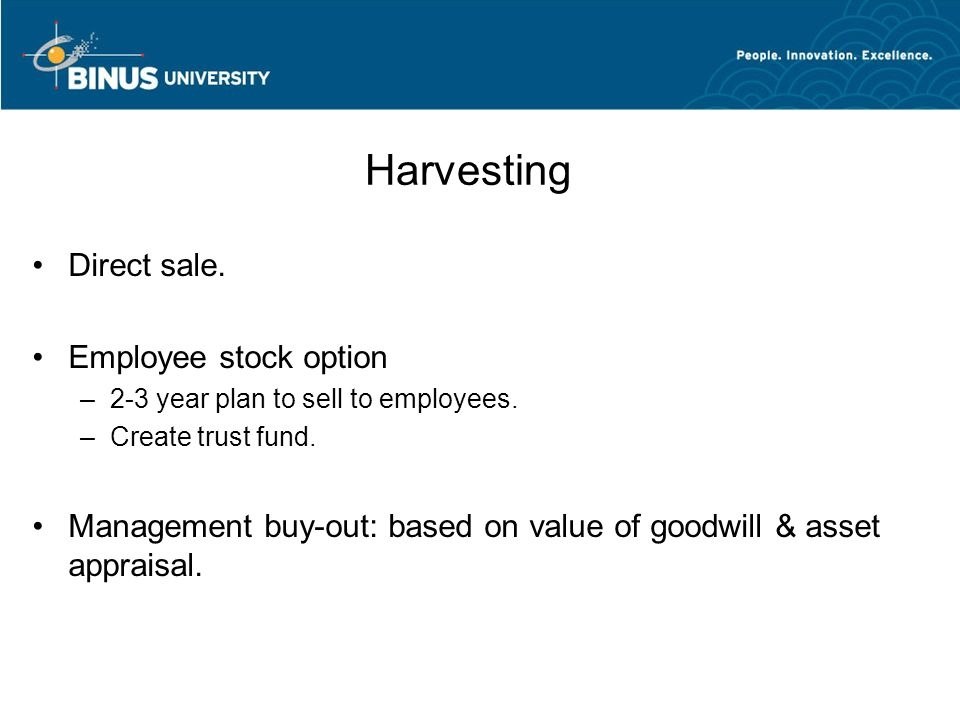Harvesting Direct sale. Employee stock option
