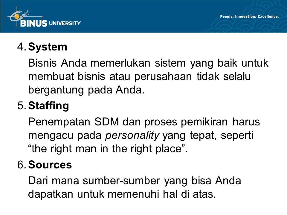 4. System Bisnis Anda memerlukan sistem yang baik untuk membuat bisnis atau perusahaan tidak selalu bergantung pada Anda.