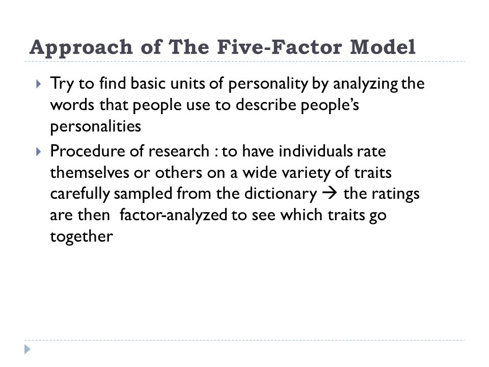 Approach of The Five-Factor Model