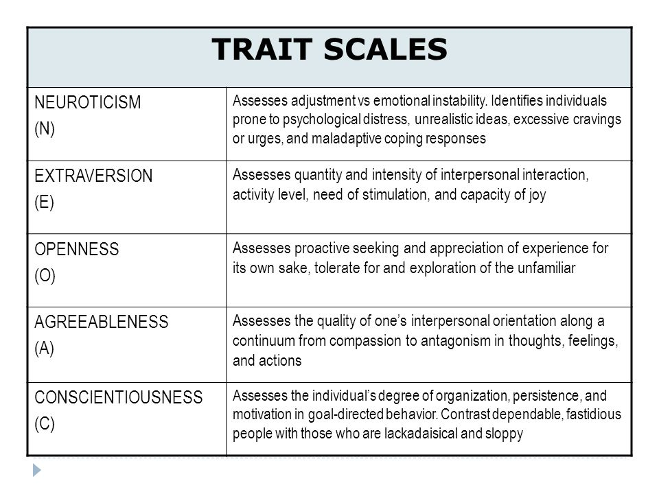 TRAIT SCALES NEUROTICISM (N) EXTRAVERSION (E) OPENNESS (O)