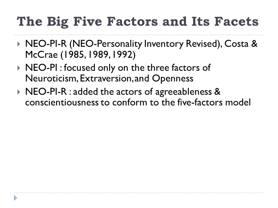 The Big Five Factors and Its Facets