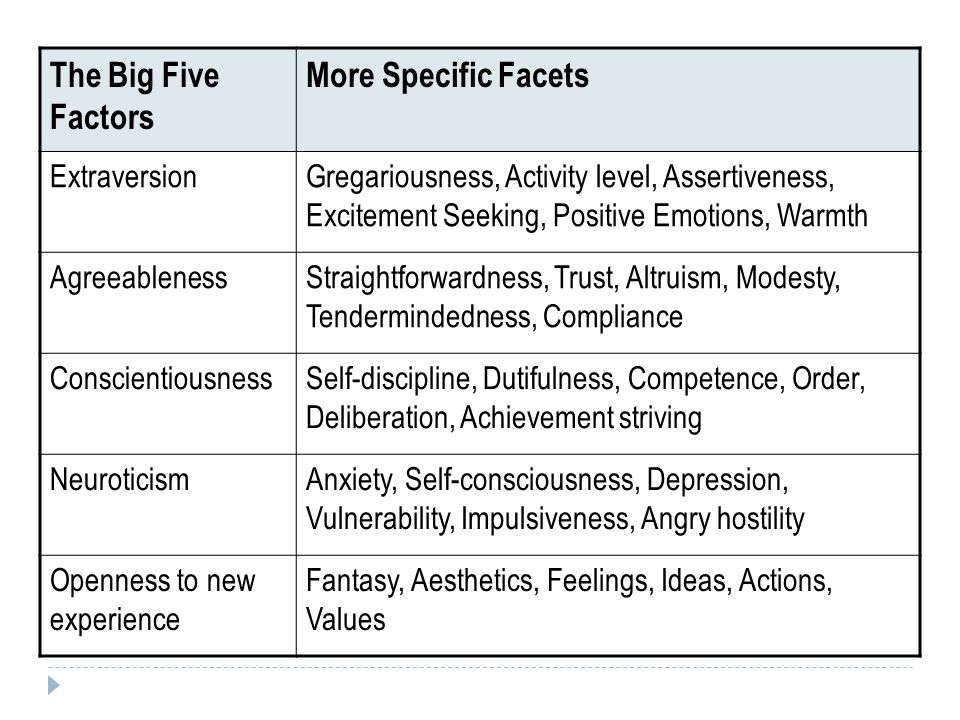 The Big Five Factors More Specific Facets Extraversion