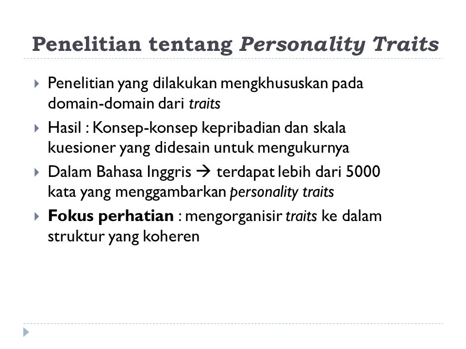 Penelitian tentang Personality Traits