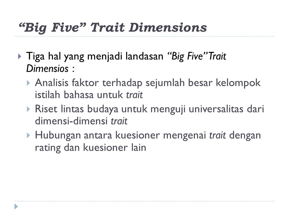 Big Five Trait Dimensions