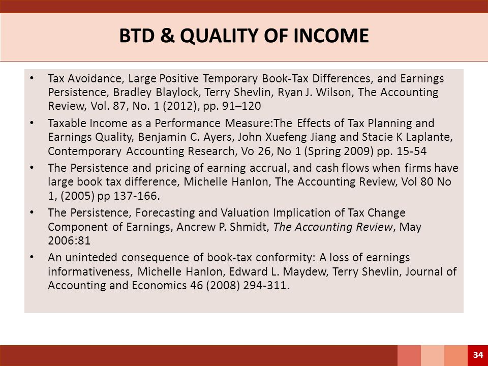 BTD & QUALITY OF INCOME