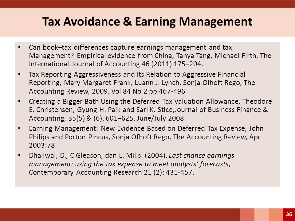 Tax Avoidance & Earning Management