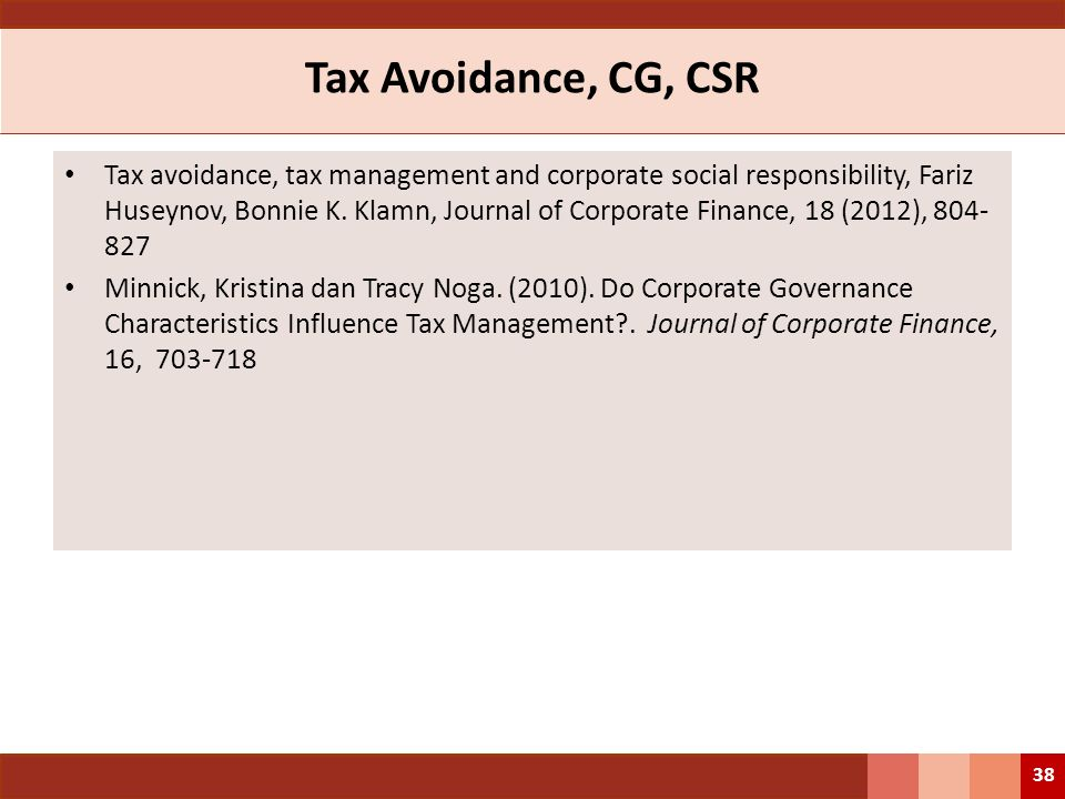 Tax Avoidance, CG, CSR