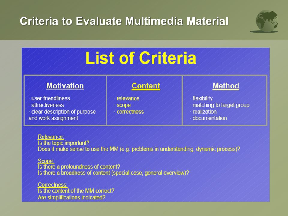 Criteria to Evaluate Multimedia Material