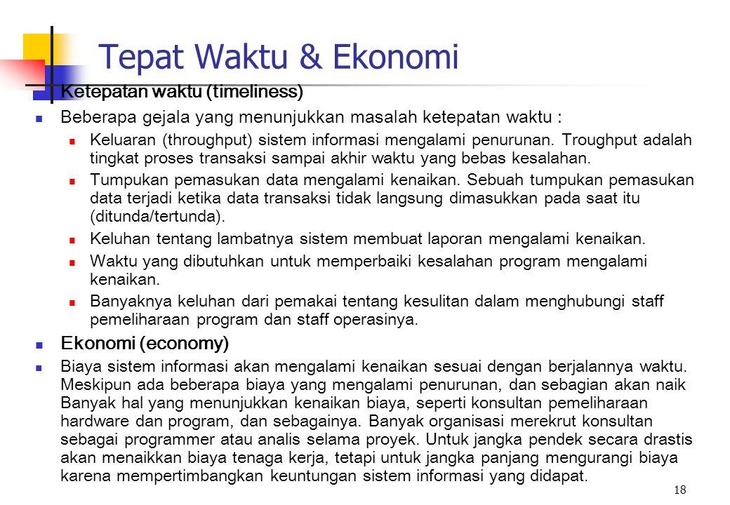 Tepat Waktu & Ekonomi Ketepatan waktu (timeliness) Ekonomi (economy)