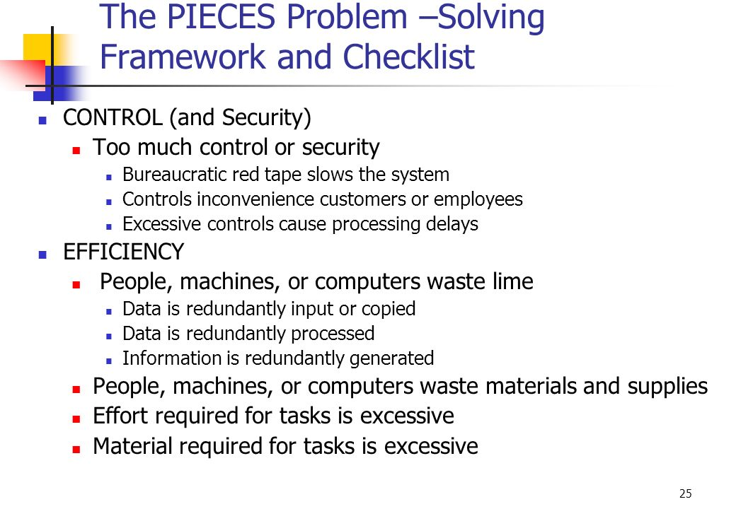 The PIECES Problem –Solving Framework and Checklist