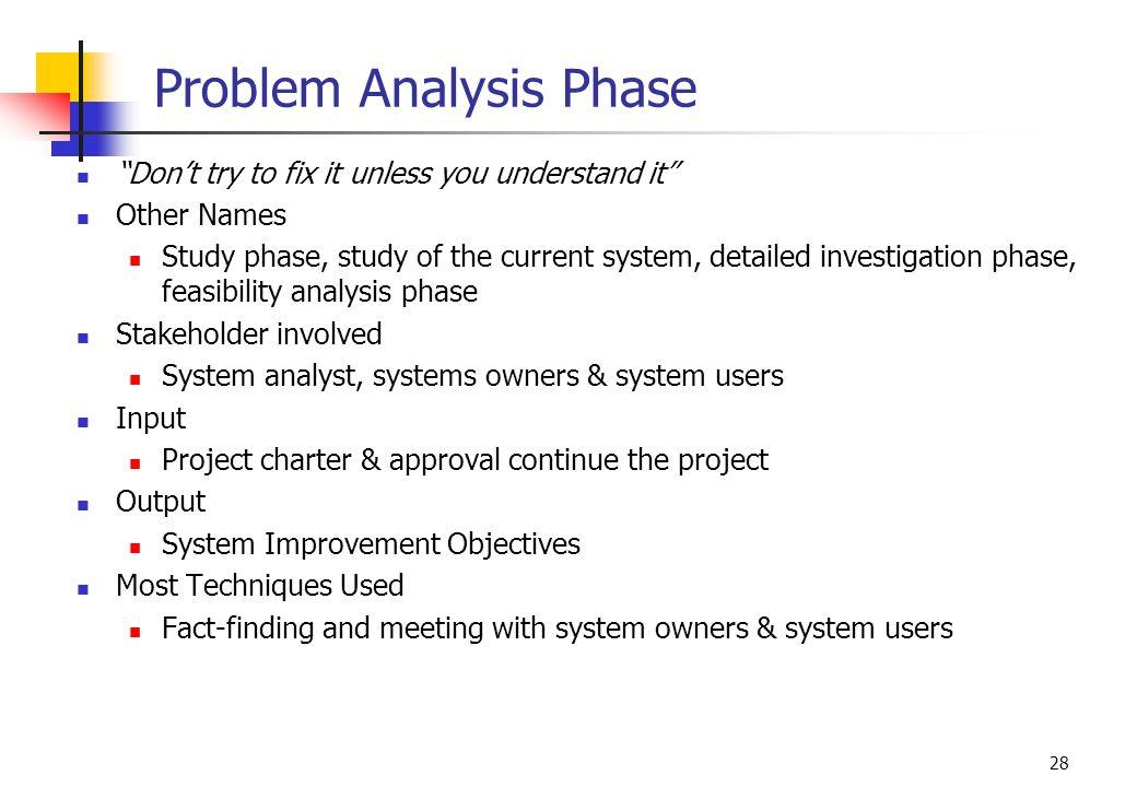 Problem Analysis Phase