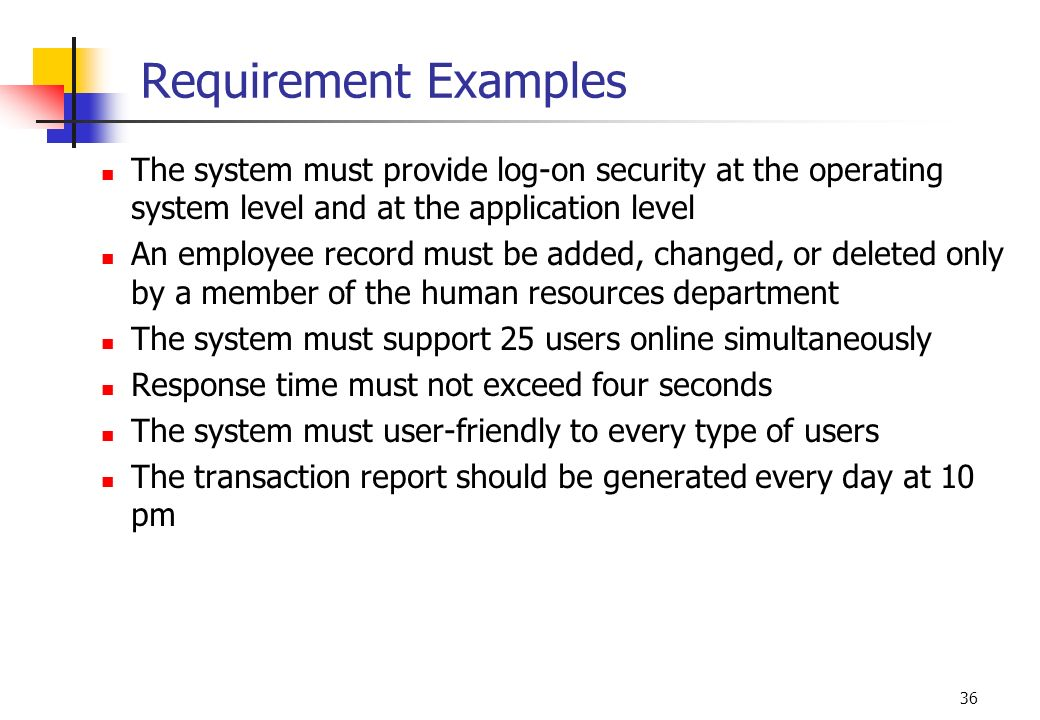 Requirement Examples The system must provide log-on security at the operating system level and at the application level.