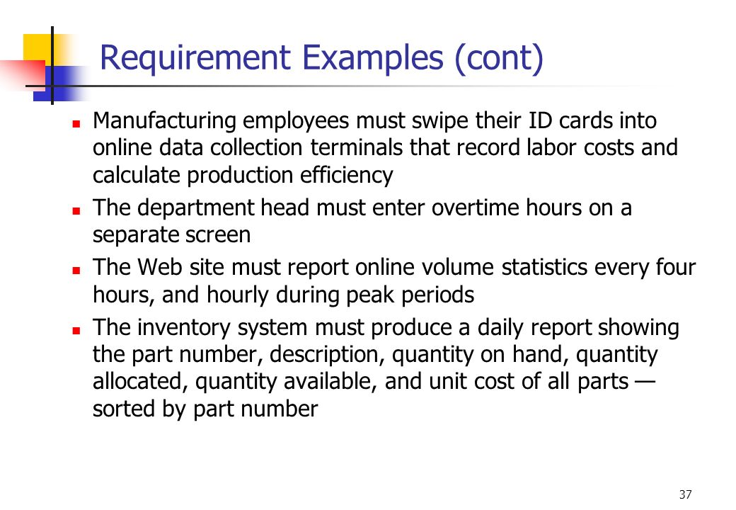 Requirement Examples (cont)
