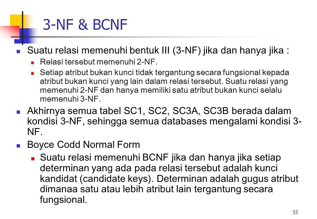 3-NF & BCNF Suatu relasi memenuhi bentuk III (3-NF) jika dan hanya jika : Relasi tersebut memenuhi 2-NF.