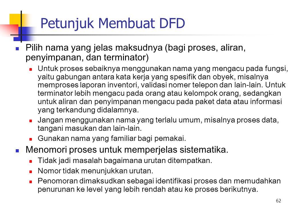 Petunjuk Membuat DFD Pilih nama yang jelas maksudnya (bagi proses, aliran, penyimpanan, dan terminator)