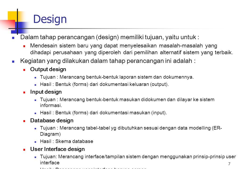 Design Dalam tahap perancangan (design) memiliki tujuan, yaitu untuk :