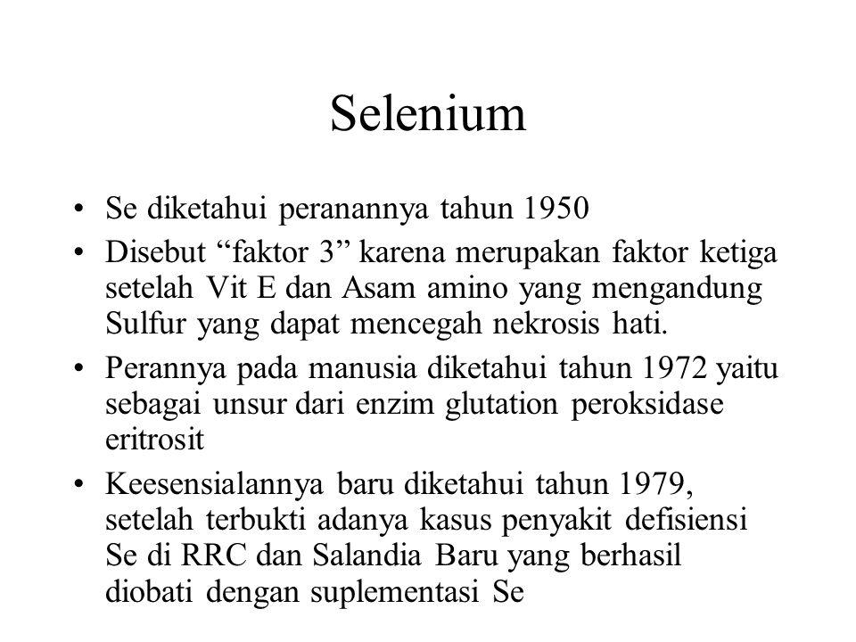 Selenium Se diketahui peranannya tahun 1950