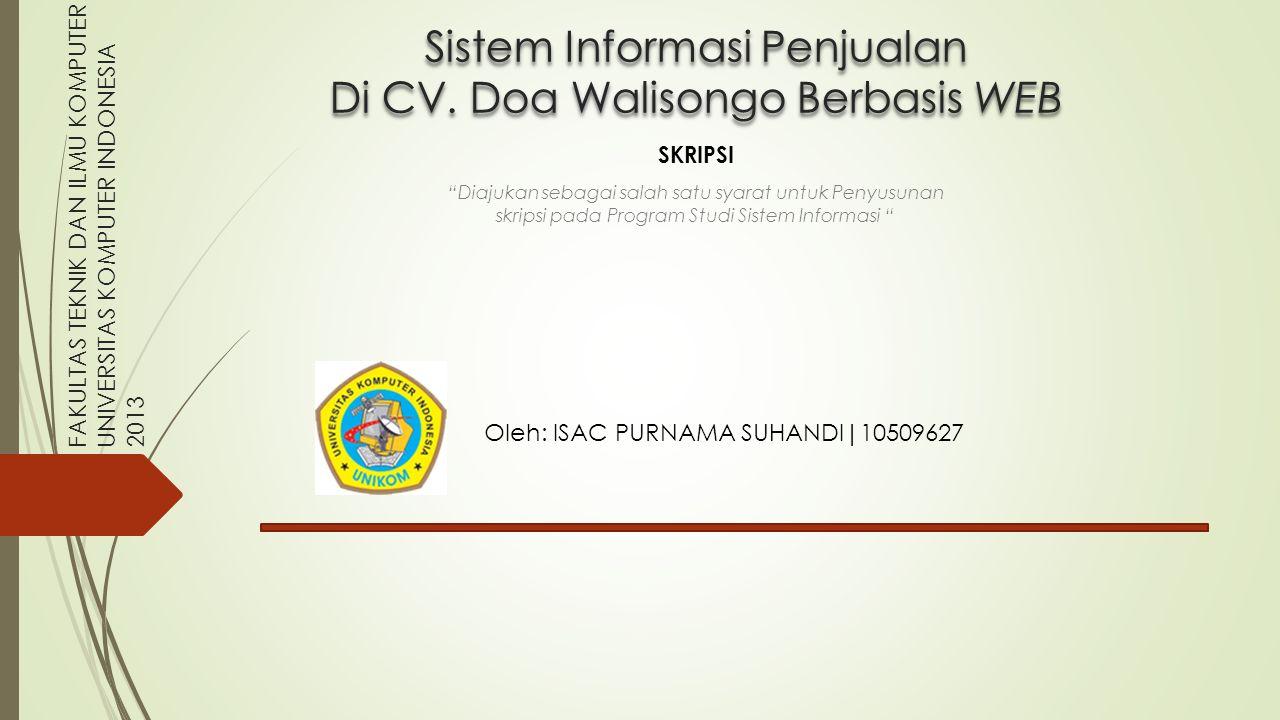 Sistem Informasi Penjualan Di CV. Doa Walisongo Berbasis WEB