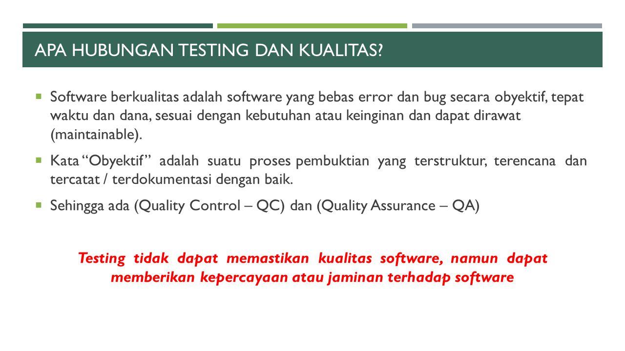 Apa hubungan testing dan kualitas