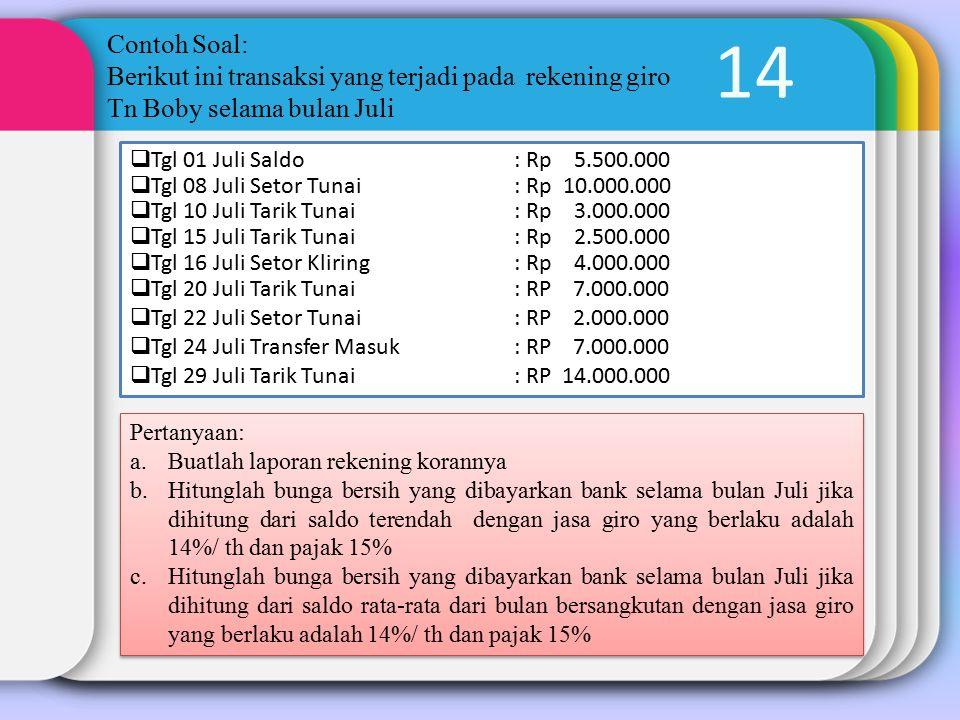 14 Contoh Soal: Berikut ini transaksi yang terjadi pada rekening giro