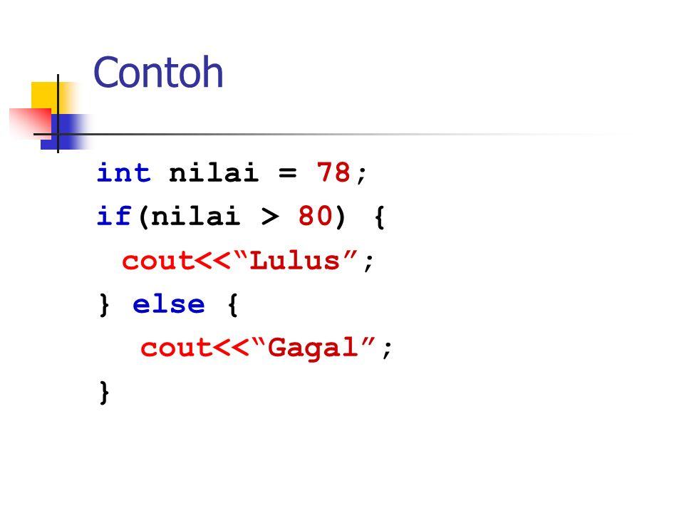 Contoh int nilai = 78; if(nilai > 80) { cout<< Lulus ;