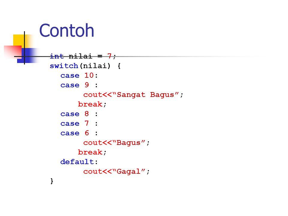 Contoh int nilai = 7; switch(nilai) { case 10: case 9 :
