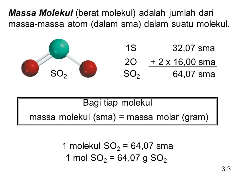 massa molekul (sma) = massa molar (gram)