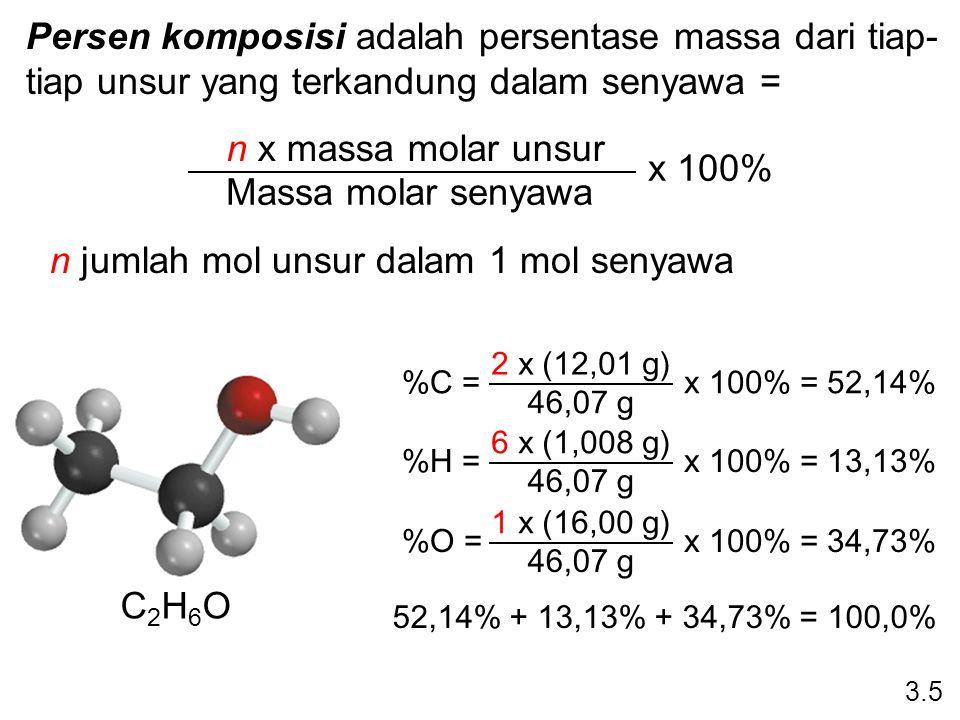 n jumlah mol unsur dalam 1 mol senyawa
