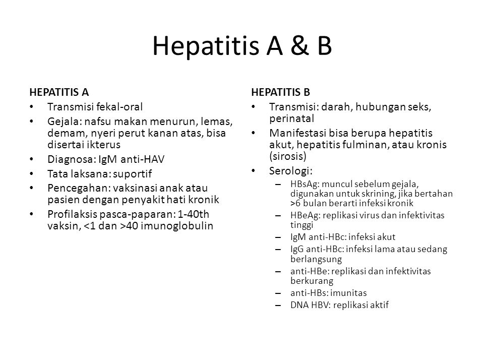 Hepatitis A & B HEPATITIS A Transmisi fekal-oral