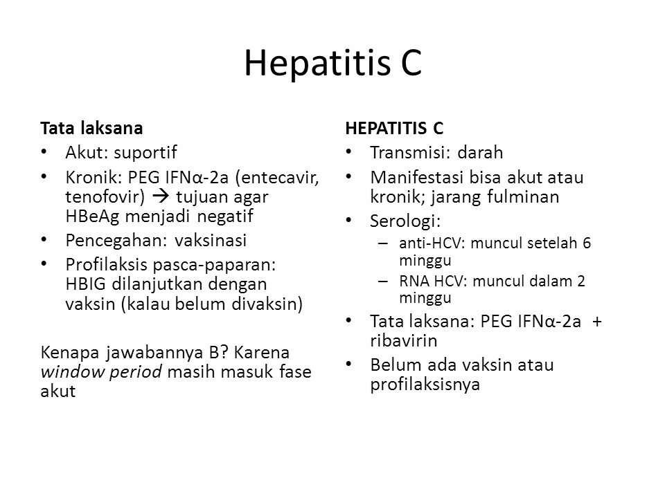 Hepatitis C Tata laksana Akut: suportif