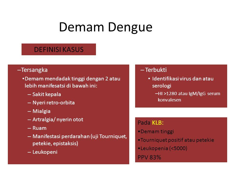 Demam Dengue DEFINISI KASUS Tersangka Terbukti Pada KLB: PPV 83%