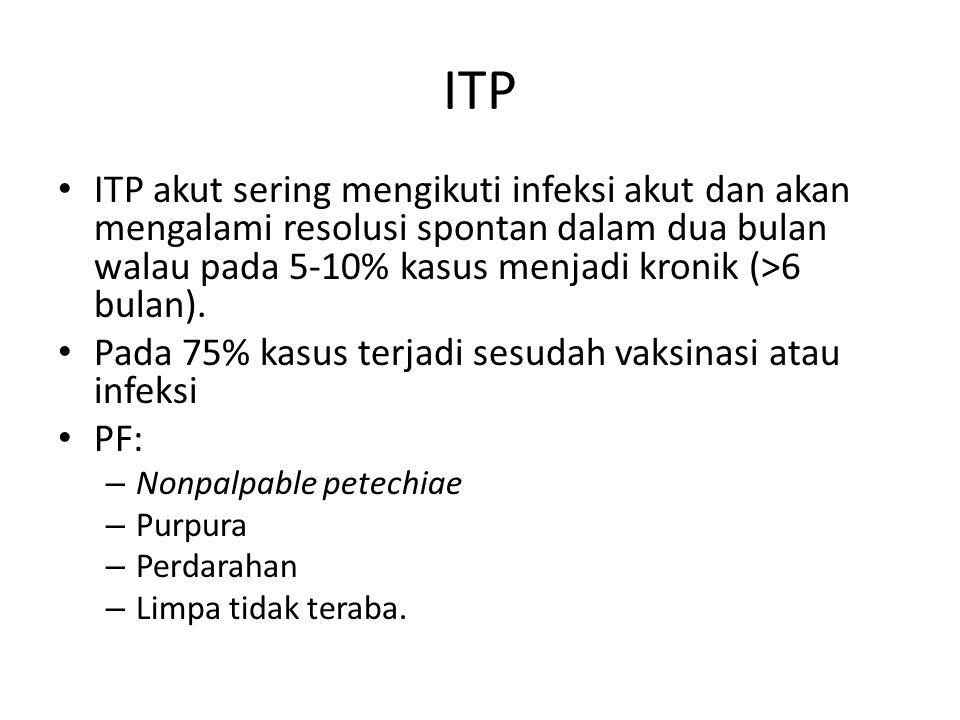 ITP ITP akut sering mengikuti infeksi akut dan akan mengalami resolusi spontan dalam dua bulan walau pada 5-10% kasus menjadi kronik (>6 bulan).