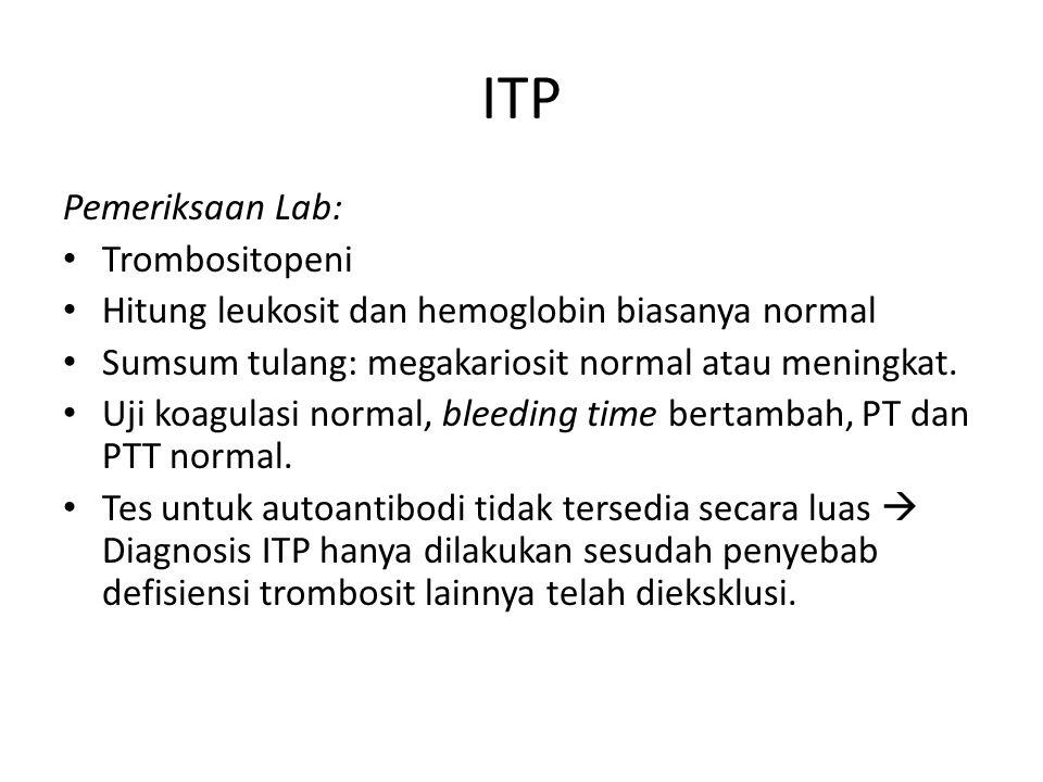 ITP Pemeriksaan Lab: Trombositopeni
