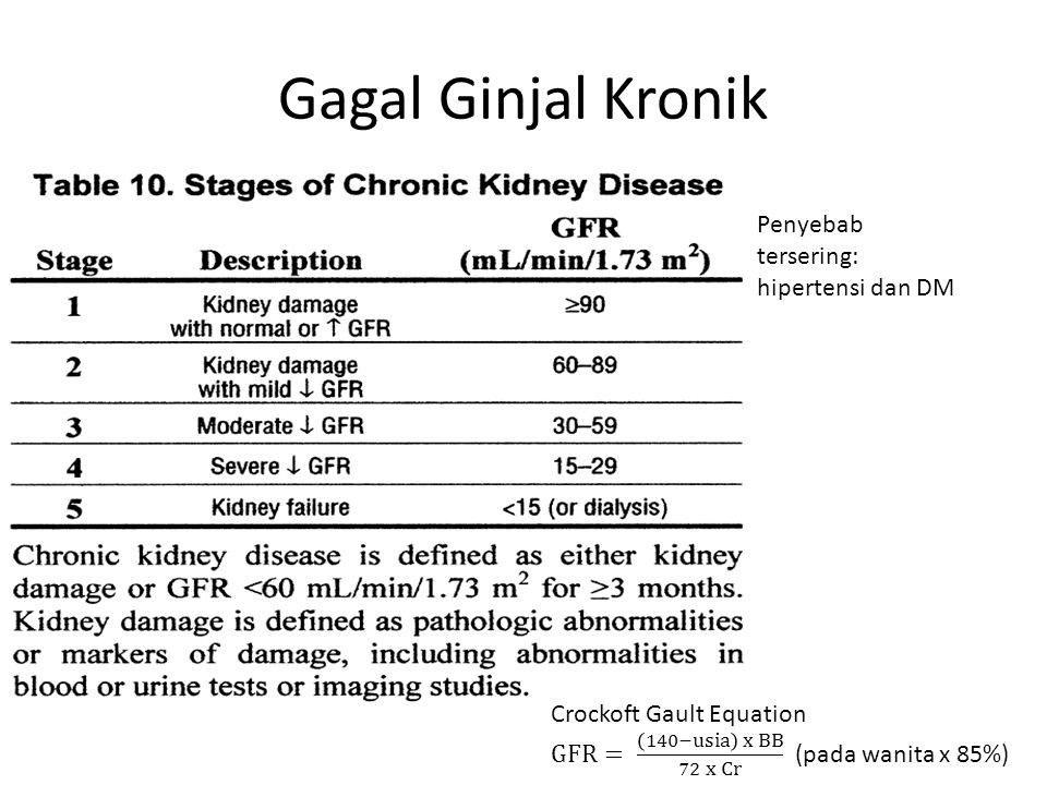 Gagal Ginjal Kronik Penyebab tersering: hipertensi dan DM