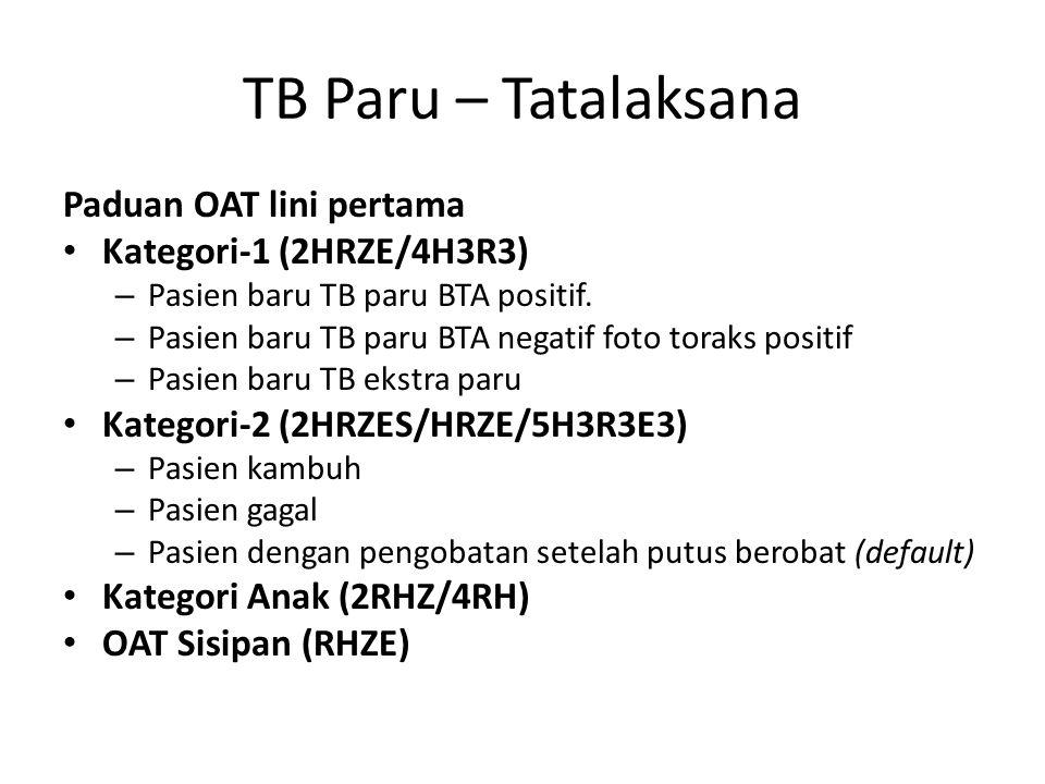 TB Paru – Tatalaksana Paduan OAT lini pertama Kategori-1 (2HRZE/4H3R3)
