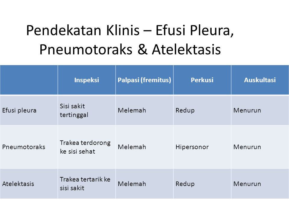 Pendekatan Klinis – Efusi Pleura, Pneumotoraks & Atelektasis