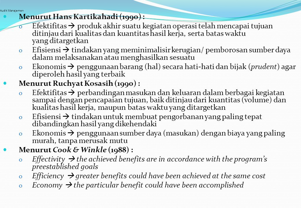 Menurut Hans Kartikahadi (1990) :