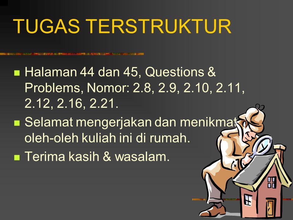 TUGAS TERSTRUKTUR Halaman 44 dan 45, Questions & Problems, Nomor: 2.8, 2.9, 2.10, 2.11, 2.12, 2.16, 2.21.