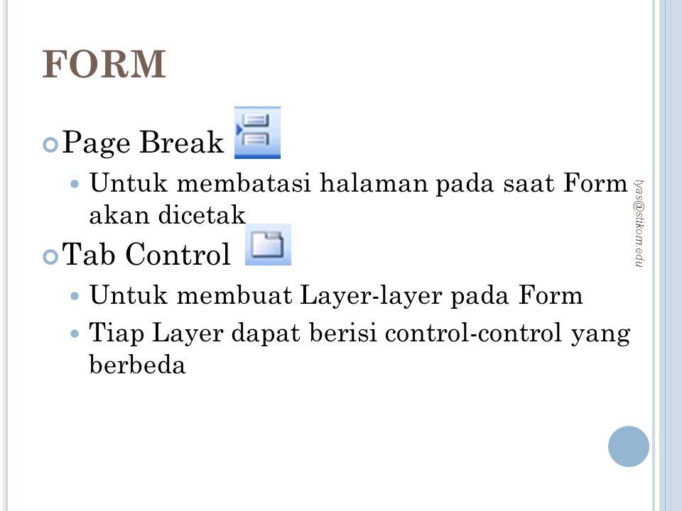 FORM Page Break Tab Control