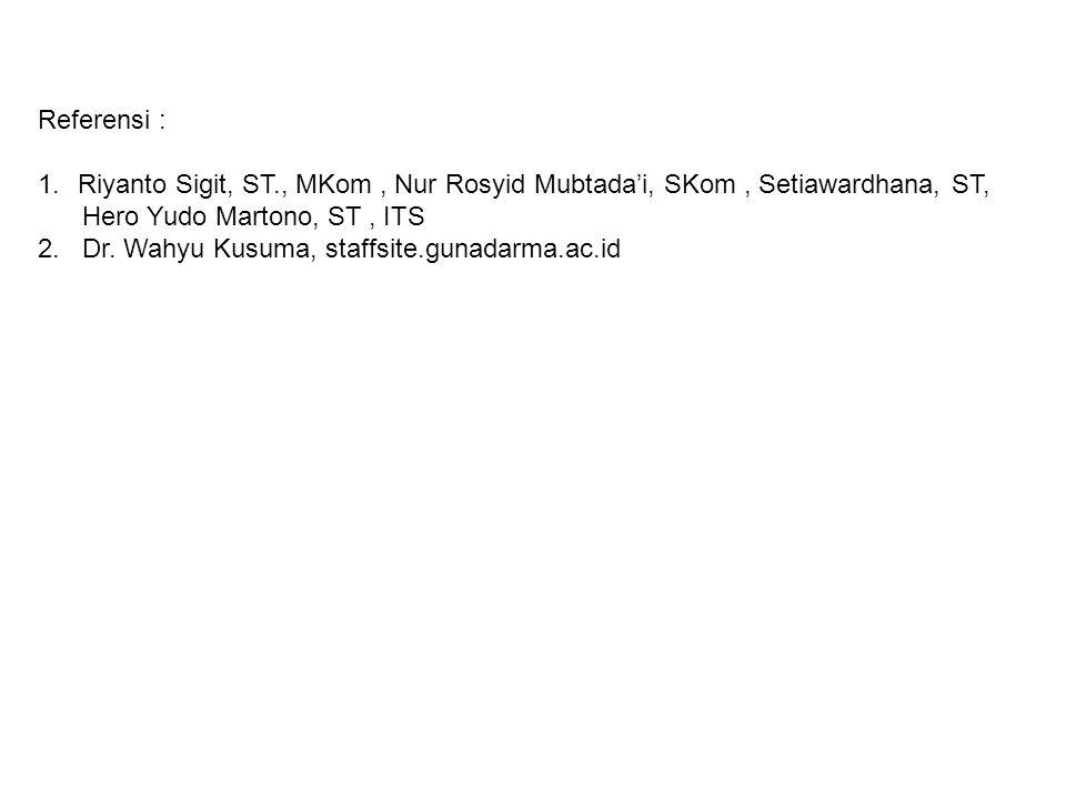 Referensi : Riyanto Sigit, ST., MKom , Nur Rosyid Mubtada'i, SKom , Setiawardhana, ST, Hero Yudo Martono, ST , ITS.