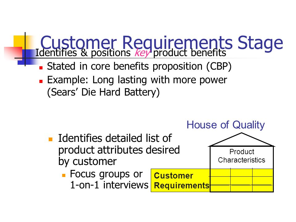 Customer Requirements Stage