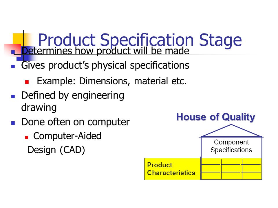 Product Specification Stage