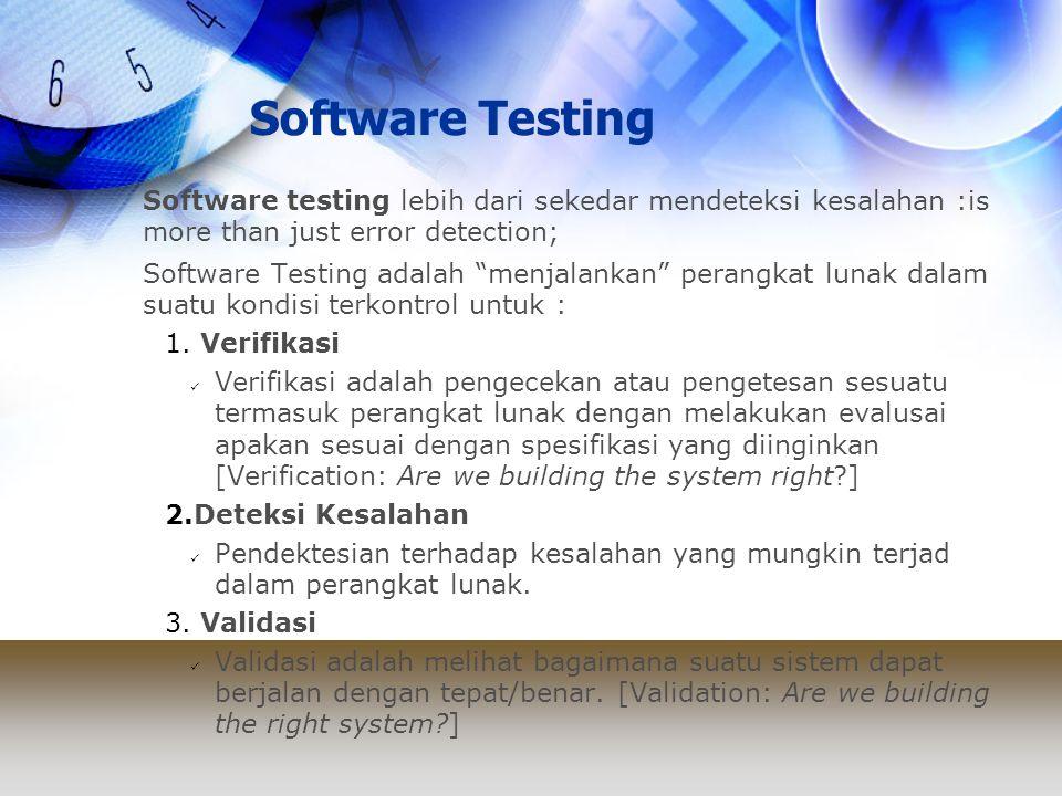 Software Testing Software testing lebih dari sekedar mendeteksi kesalahan :is more than just error detection;